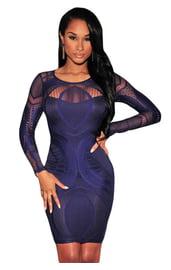 Синее ажурное платье