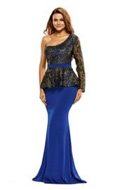 Синее длинное платье с баской