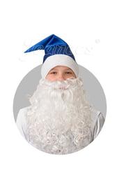 Синий сатиновый колпак с бородой
