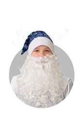 Синий колпак со снежинками и бородой