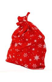 Красный мешок в снежинках