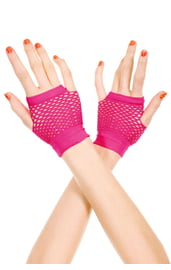 Короткие розовые перчатки в сетку