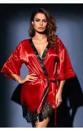 Красный сатиновый халат