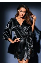 Черный атласный халат