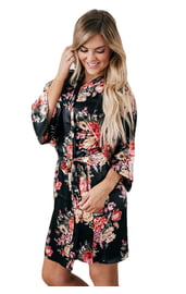 Черный цветочный халат