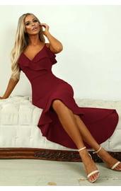 Бордовое длинное платье