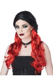 Черный парик с красными локонами