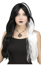 Черно-белый парик ведьмы