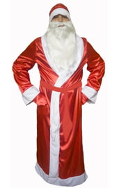 Взрослый костюм Деда Мороза атласный