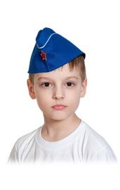 Детская синяя пилотка с кантиком