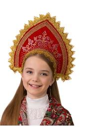 Детский красный кокошник Забавушка