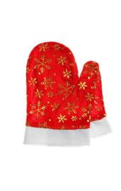 Красные варежки со снежинками