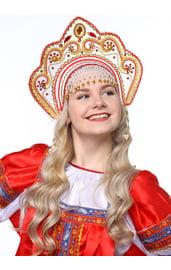 Белый кокошник Фантазия с красной тесьмой