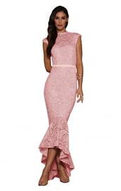 Кружевное вечернее розовое платье