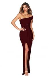 Бордовое платье на одно плечо
