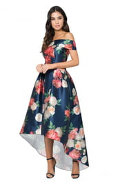 Темно-синее цветочное платье