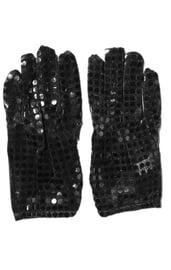 Перчатки с блестками черные