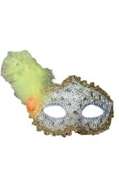 Золотистая маска с пером