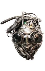 Серебряная маска Киборга Стимпанк