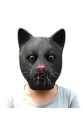 Латексная маска черного кота