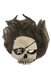 Маска черепа пирата с волосами