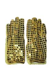 Перчатки с блестками золотые