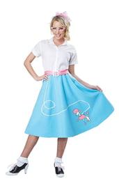 Голубая ретро юбка с пуделем