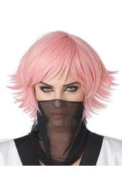 Розовый короткий парик