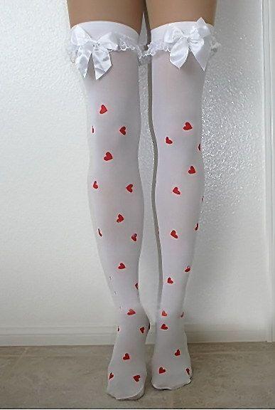Чулки белые в сердечко (40-44) белые чулки с крестом 42 44