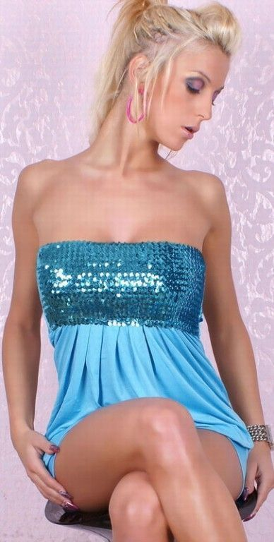 Платье голубое с блестками (40-44)