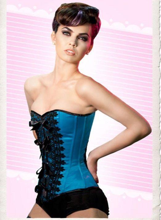 Корсет синий с кружевом (42) Mia Lover LC5151