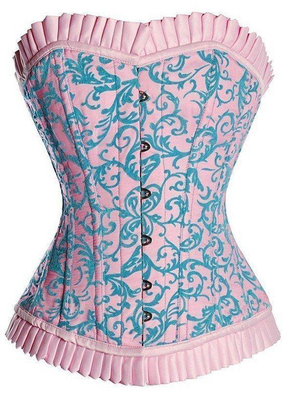 Корсет розово-голубой (50) -  Корсеты с чашечками