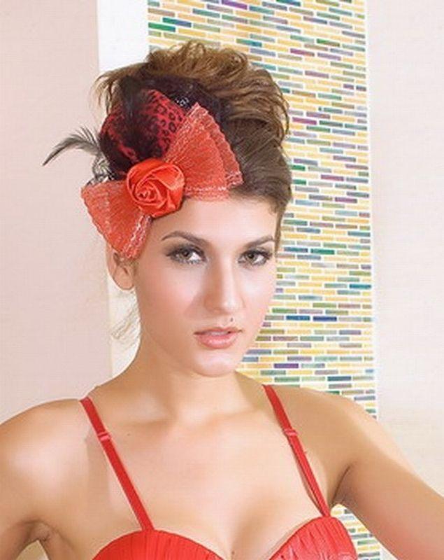 Шляпка красная с бантом (46) - Шляпы карнавальные, р.46