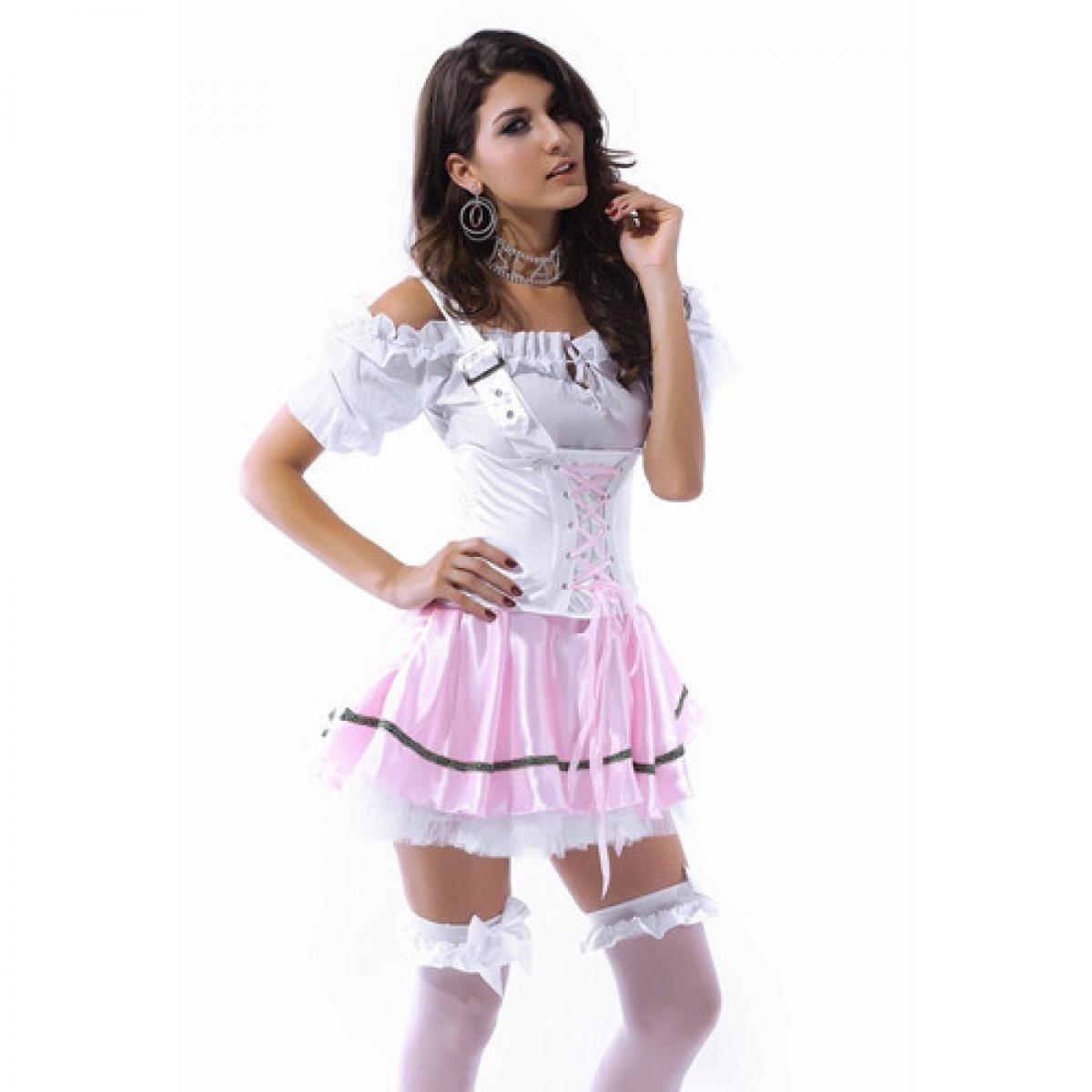 Костюм баварской красотки розовый (46) клетчатый костюм красотки 48