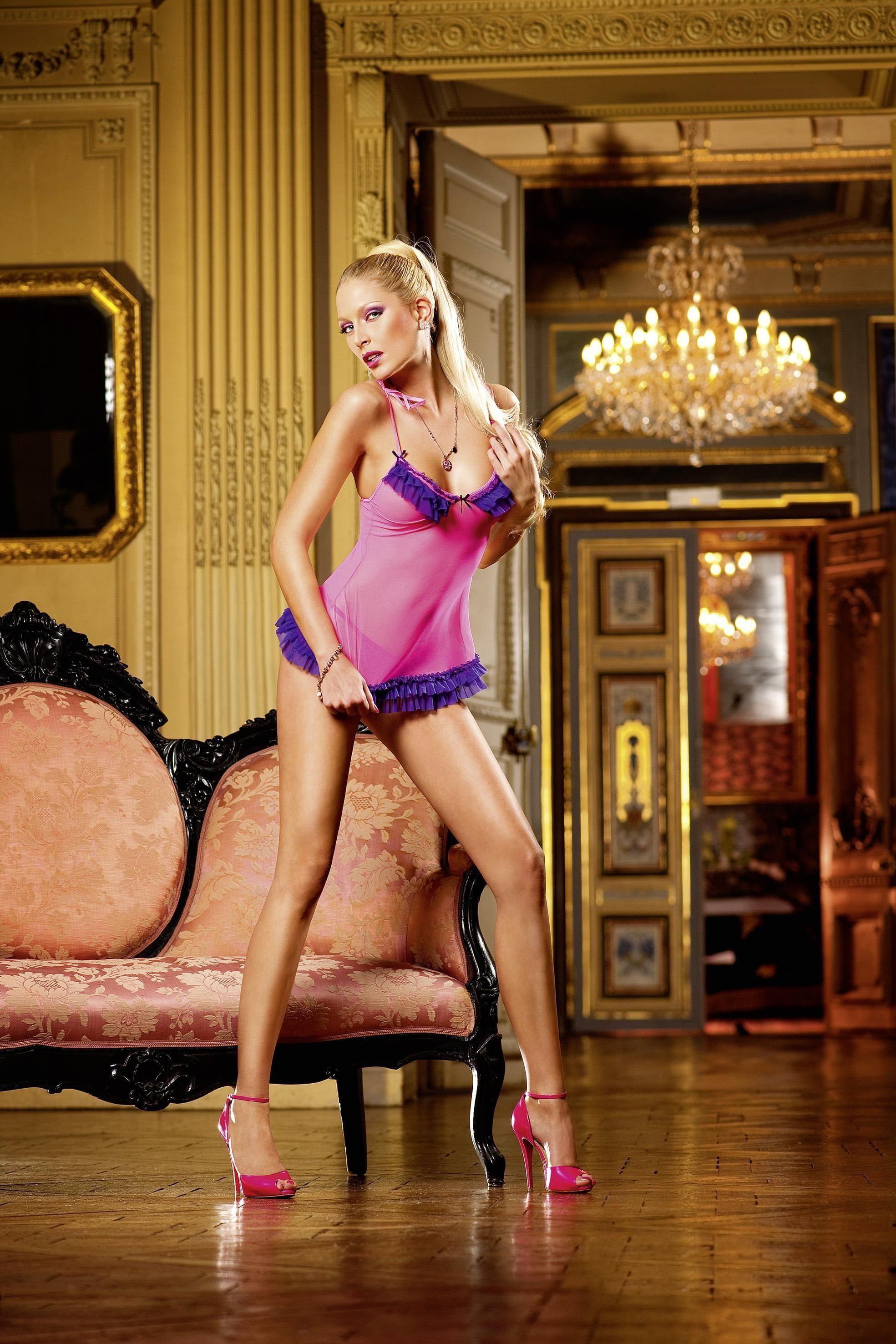 Сорочка розовая с фиолетовой оборкой (2-3) - Сорочки и туники, р.2-3