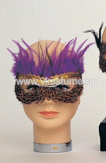 Маска на глаза с коричневыми и фиолетовыми перьями (UNI) - Карнавальные маски
