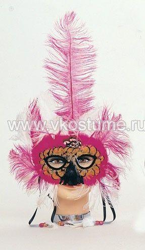 Маска с высоким пером розово-белая (UNI) - Карнавальные маски
