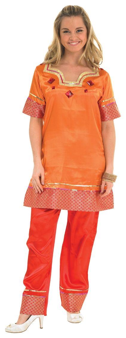 Оранжевый костюм индийской леди (46-48) костюм радужной клоунессы 46 48