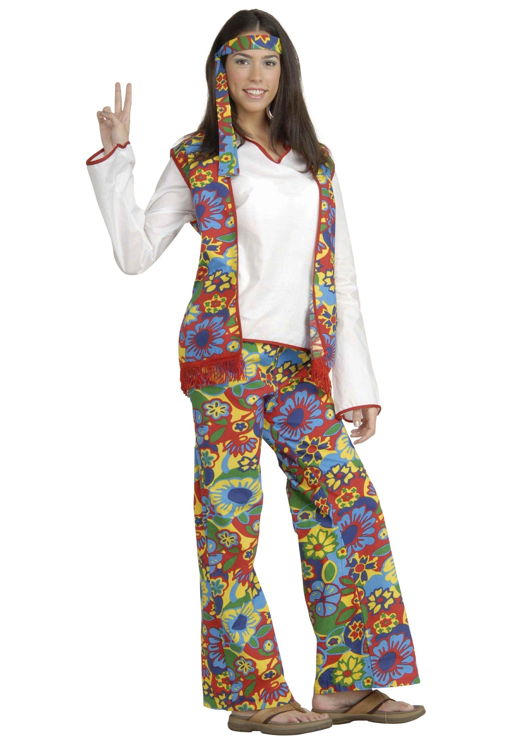 Костюм яркой девушки-хиппи (46-48) костюм цветочной хиппи 48