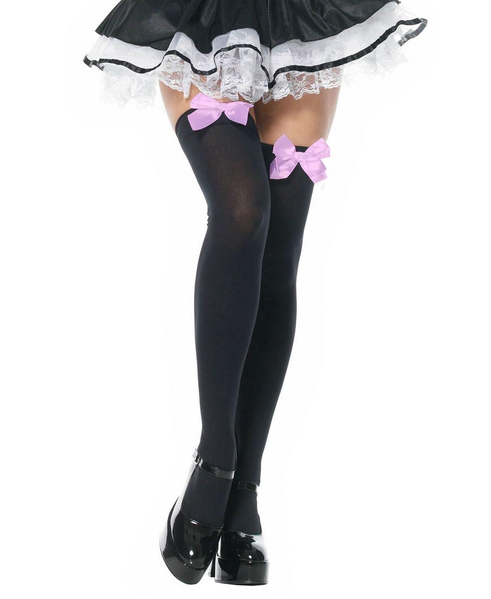 Чёрные чулки с розовыми бантами (40-44) нижнее бельё