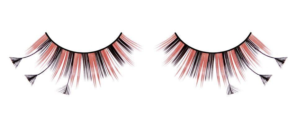 Ресницы черно-красные перья - Аксессуары на карнавал