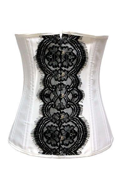Корсет на талию белый с черным кружевом (44) Mia Lover LC5235-1