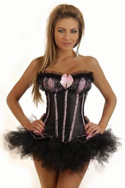 Корсет черно-розовый бурлеск с юбкой (44) корсет с пышной юбкой