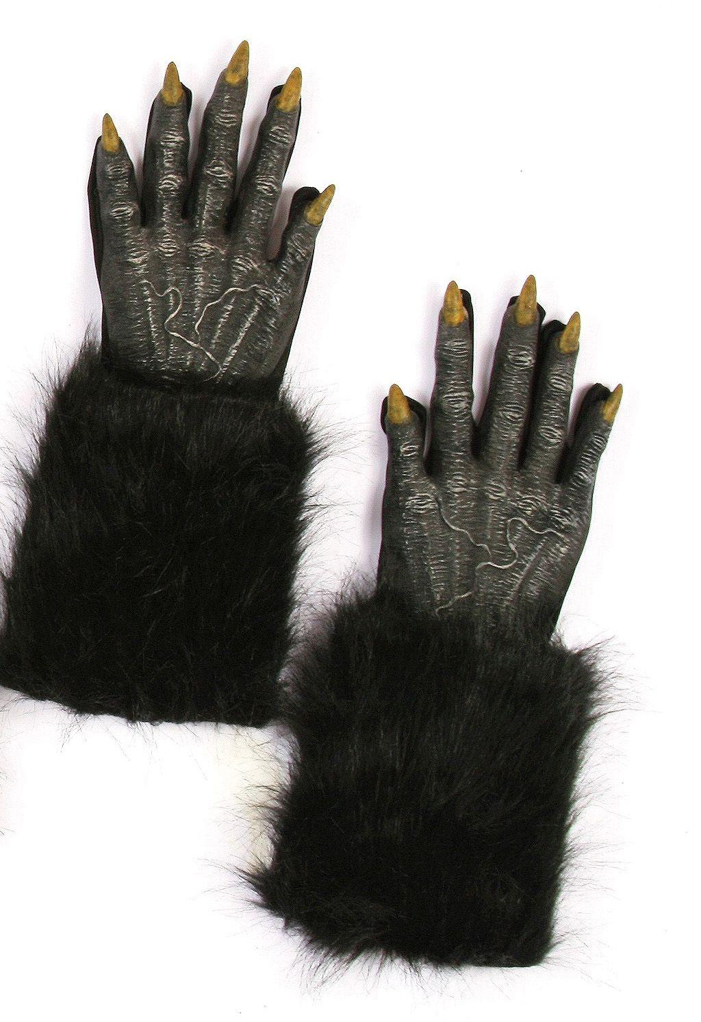 Меховые чёрные перчатки оборотня - Аксессуары на Хэллоуин