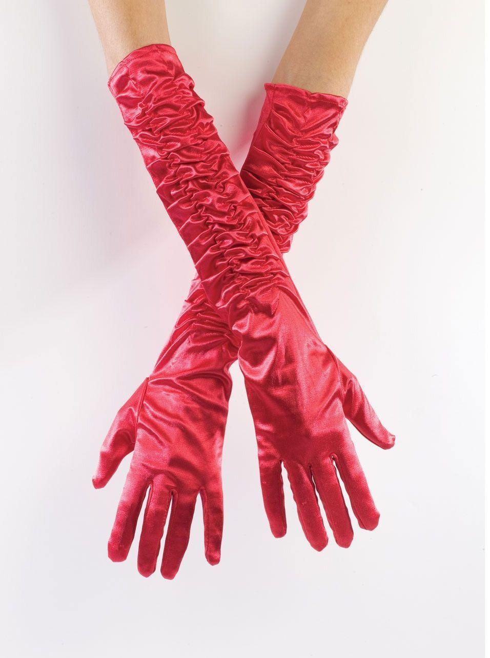Атласные красные перчатки со сборкой (UNI) - Перчатки и рукава