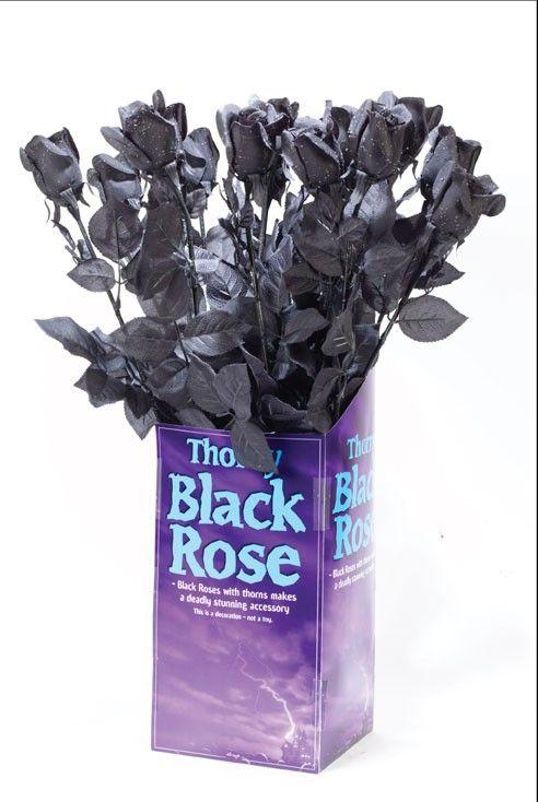 Черная готическая роза 60 см (UNI) - Аксессуары на Хэллоуин