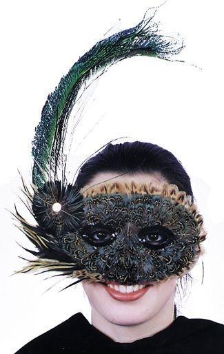 Перьевая маска на пол лица (UNI) - Карнавальные маски