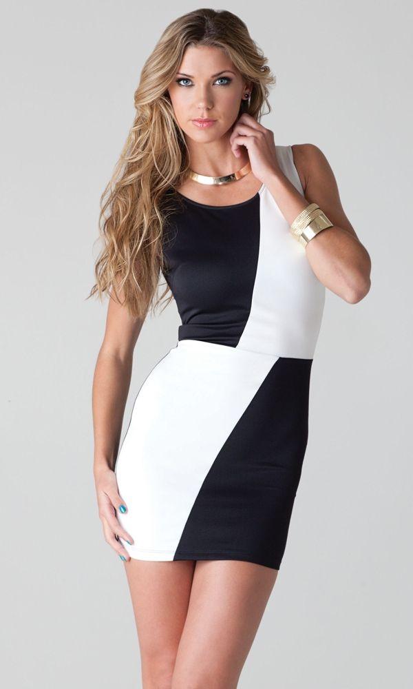 Черно-белое мини-платье (40)