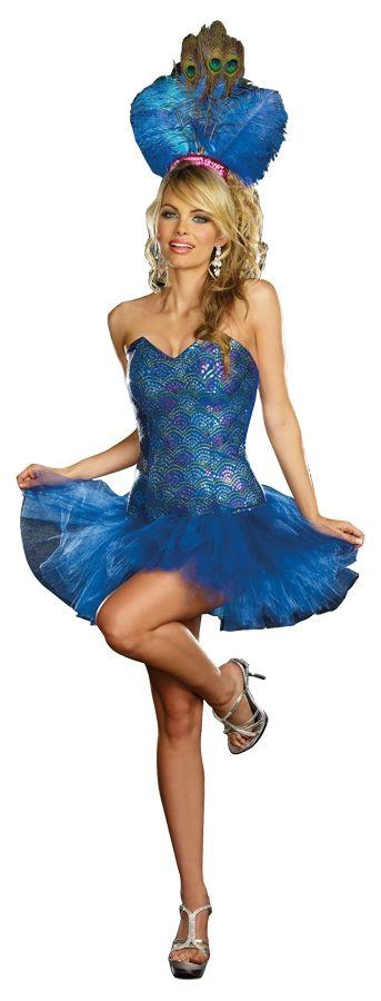 Синий костюм Павлина (48-52) dreamgirl светящееся диско платье