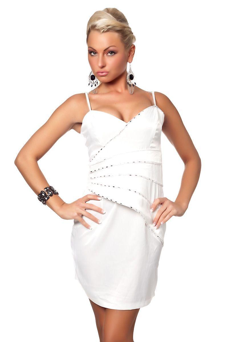 Белое платье со стразами (46) -  Коктейльные платья
